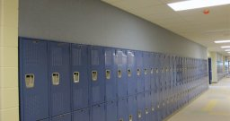 Fabric Wall Panels above Locker